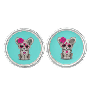 Pink Day of the Dead Lion Cub Cuff Links