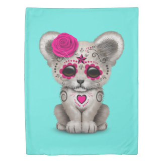 Pink Day of the Dead Lion Cub Duvet Cover