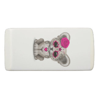 Pink Day of the Dead Lion Cub Eraser