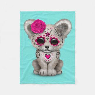 Pink Day of the Dead Lion Cub Fleece Blanket