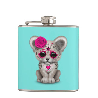 Pink Day of the Dead Lion Cub Hip Flask