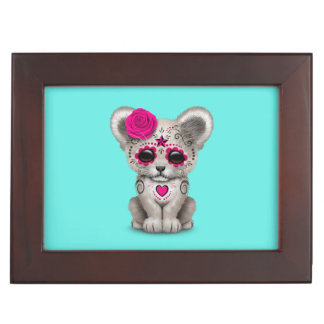 Pink Day of the Dead Lion Cub Keepsake Box