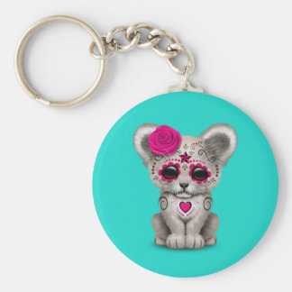 Pink Day of the Dead Lion Cub Keychain