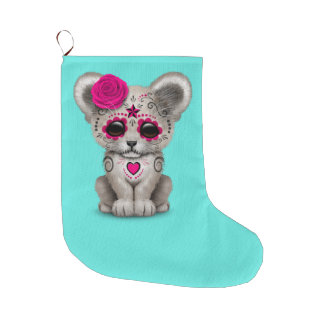 Pink Day of the Dead Lion Cub Large Christmas Stocking