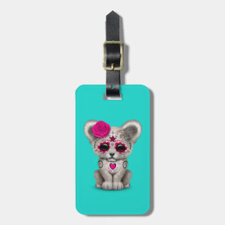 Pink Day of the Dead Lion Cub Luggage Tag