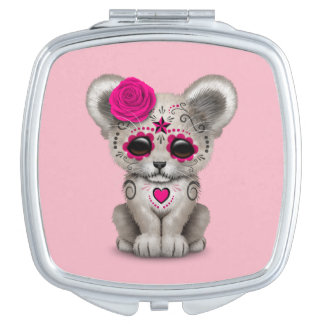 Pink Day of the Dead Lion Cub Makeup Mirror