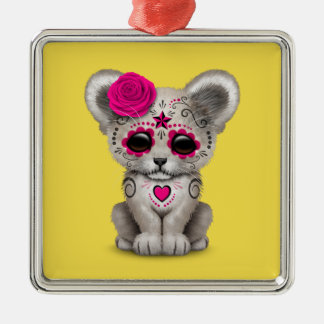 Pink Day of the Dead Lion Cub Metal Ornament