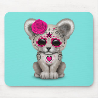 Pink Day of the Dead Lion Cub Mouse Pad
