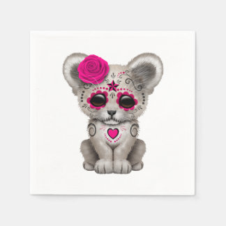 Pink Day of the Dead Lion Cub Napkin