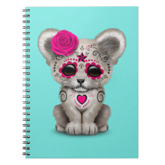Pink Day of the Dead Lion Cub Notebook