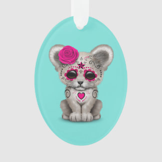 Pink Day of the Dead Lion Cub Ornament