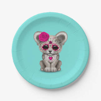 Pink Day of the Dead Lion Cub Paper Plate