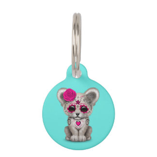 Pink Day of the Dead Lion Cub Pet Name Tag