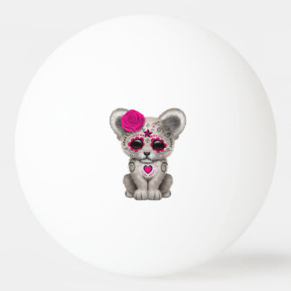 Pink Day of the Dead Lion Cub Ping Pong Ball