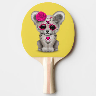 Pink Day of the Dead Lion Cub Ping Pong Paddle