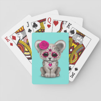 Pink Day of the Dead Lion Cub Playing Cards
