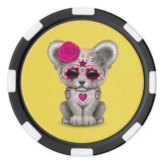 Pink Day of the Dead Lion Cub Poker Chips