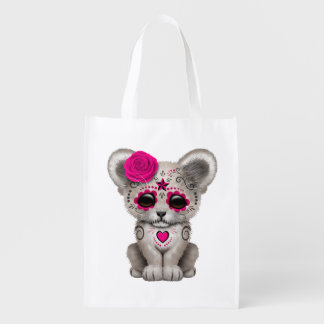 Pink Day of the Dead Lion Cub Reusable Grocery Bag