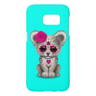 Pink Day of the Dead Lion Cub Samsung Galaxy S7 Case