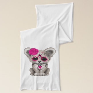 Pink Day of the Dead Lion Cub Scarf