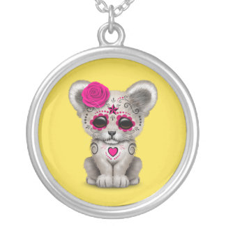 Pink Day of the Dead Lion Cub Silver Plated Necklace