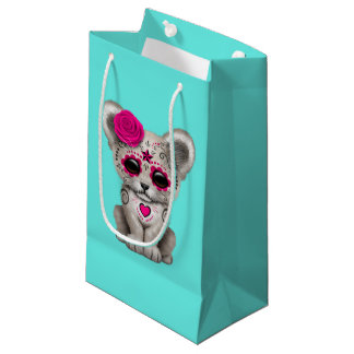 Pink Day of the Dead Lion Cub Small Gift Bag