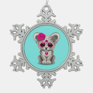 Pink Day of the Dead Lion Cub Snowflake Pewter Christmas Ornament