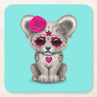 Pink Day of the Dead Lion Cub Square Paper Coaster