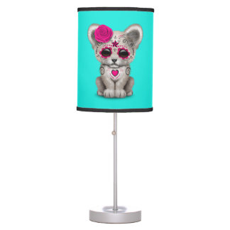Pink Day of the Dead Lion Cub Table Lamp