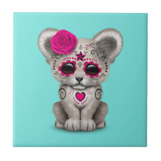 Pink Day of the Dead Lion Cub Tile