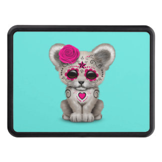 Pink Day of the Dead Lion Cub Trailer Hitch Cover