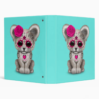 Pink Day of the Dead Lion Cub Vinyl Binder