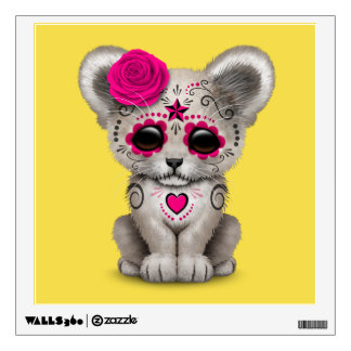 Pink Day of the Dead Lion Cub Wall Decal