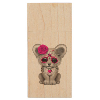 Pink Day of the Dead Lion Cub Wood USB Flash Drive