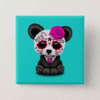 Pink Day of the Dead Panda Cub 2 Inch Square Button