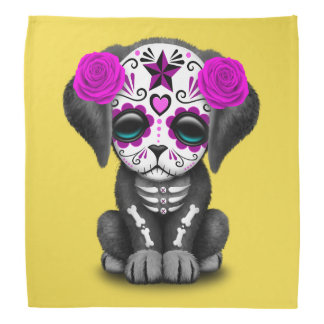 Pink Day of the Dead Puppy Dog Bandana