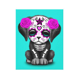 Pink Day of the Dead Puppy Dog Canvas Print