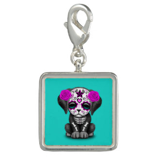 Pink Day of the Dead Puppy Dog Charm