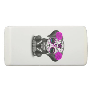 Pink Day of the Dead Puppy Dog Eraser