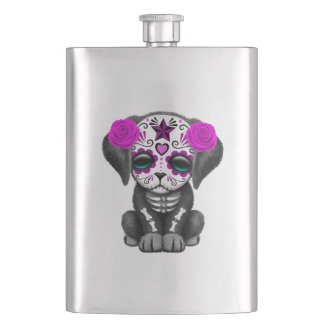 Pink Day of the Dead Puppy Dog Hip Flask