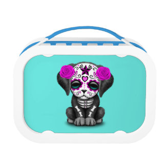 Pink Day of the Dead Puppy Dog Lunch Box