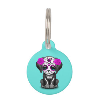 Pink Day of the Dead Puppy Dog Pet Tag