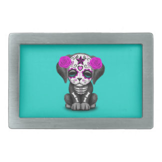 Pink Day of the Dead Puppy Dog Rectangular Belt Buckles