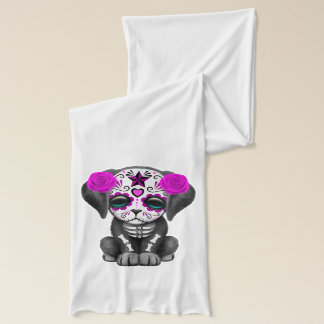 Pink Day of the Dead Puppy Dog Scarf