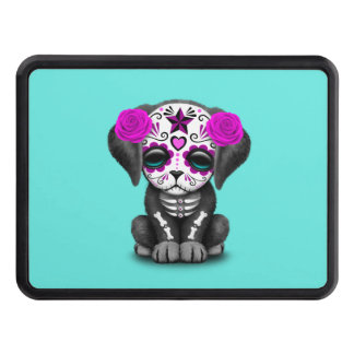 Pink Day of the Dead Puppy Dog Trailer Hitch Covers