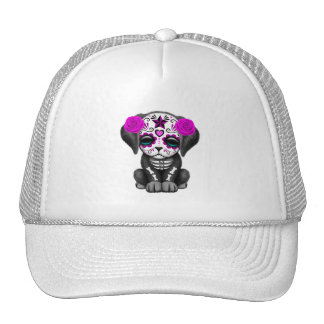 Pink Day of the Dead Puppy Dog Trucker Hat