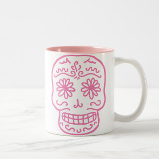 Pink Day of the Dead Skull Two-Tone Coffee Mug