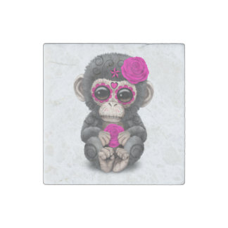 Pink Day of the Dead Sugar Skull Baby Chimp Stone Magnets
