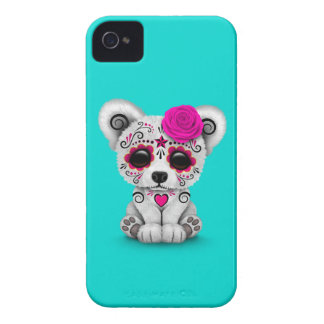 Pink Day of the Dead Sugar Skull Bear Blue iPhone 4 Cases