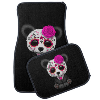 Pink Day of the Dead Sugar Skull Panda on Black Car Mat